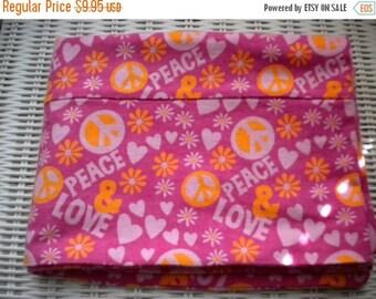 Peace/Love Flannel Pillowcase, Pink Peace/Love Flannel Pillowcase, Peace/Love Pillowcase