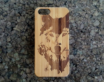 Wolf with Rose Phone 7 Plus Case. Bamboo Wood Cell Phone Cover. Native American Spirit Animal Totem Wolfpack. iMakeTheCase Phone 7 Plus Case