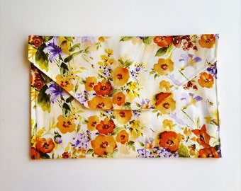 Vintage Orange Floral Vinyl Lined Diaper Clutch with Changing Pad