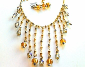 Collana Gioielli Gold Crystal Bib Necklace, Statement Necklace, Gold Crystal Bib Statement Jewelry Gold Statement Chain Fringe Made in Italy