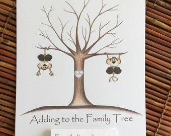 Customizable Thumb print tree guest book, monkey Fingerprint tree guest book, jungle safari baby shower guest book finger print, personalize