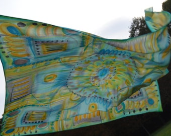 Silk Crepe de Chine scarf-hand painted