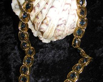Vintage Givenchy New York Paris Gold Sapphire Necklace