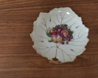 Vintage Leaf Shaped Plate with Fruit Design and Gold Trim