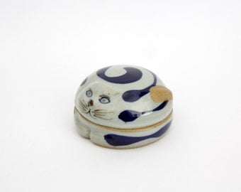 Vintage BOLTZE BAZAR ceramic cat figurine box // novelty jewelry storage box
