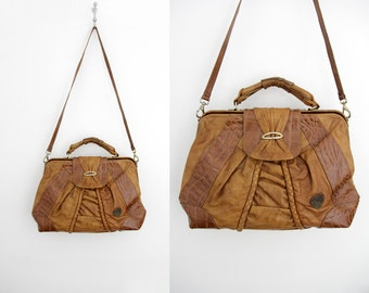Vintage leather Purse // 80's Patchwork Leather Purse