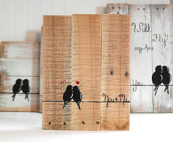 5th Wedding Anniversary Gift Ideas For Couple : 5th Anniversary Gift for Couple Painted Reclaimed Wood Love Bird ...