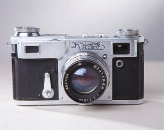 Camera KIEV-4A (TYPE-2). With original leather case.Rangefinder Film Camera. Contax camera copy.