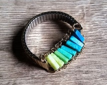 Making the Gradient- Repurposed Vintage Watch Band Ombre Beaded Jade Stretch Bracelet