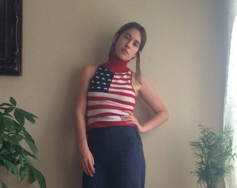 Knit Sleeveless American Flag Turtleneck