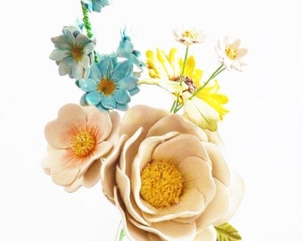 Glass Jar of Ceramic Flowers - pottery flower boquet