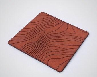 Leather Topographic Coasters - Set of 4