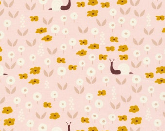 Sunday Stroll pink organic cotton fabric - 30 inch remnant - Park Life by Elizabeth Olwen for Cloud 9 -