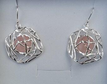 Rose Quartz Silver Earrings, Sterling Silver Dangle Earrings ,Handmade Quartz Earrings ,Silver Gemstones Earrings ,Bridal Silver Earrings