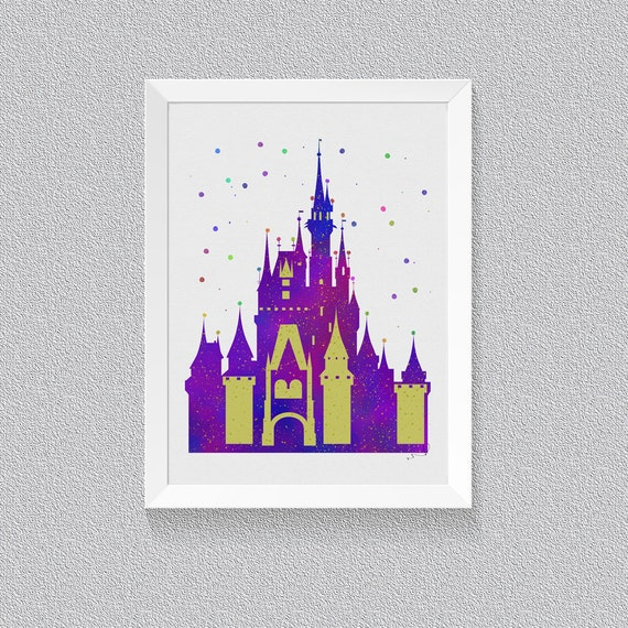 Disney cinderella castle wall decor watercolor painting art for Cinderella castle wall mural
