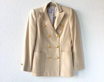 Vintage // Beige Silk Double Breasted Blazer Rena Lange