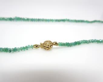 fine emerald beads necklace, 14 K clasp