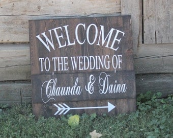 Welcome to the wedding of sign names and date customizable, arrow, large, stained wood sign