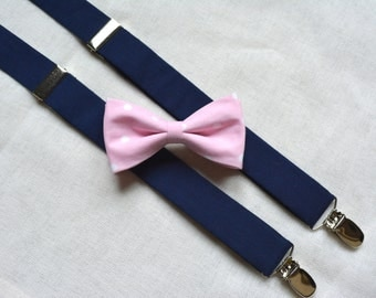 Bow tie and suspenders,boys bow tie and suspenders,suspenders and bow tie, pink and navy blue