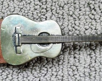 VINTAGE Acoustic GUITAR 1978 Baron Belt and BUCKLE 6003 Solid Brass Tooled Leather