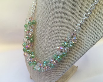 Erin - Spring Necklace, Pink Green Necklace, Cluster Necklace, Sparkly Necklace,  Pink Green Beaded Necklace, Pink Green Sparkly necklace