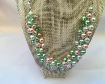 Marie-Pearl necklace, Spring Cluster Necklace, Pink Green necklace, pink necklace, bauble necklace, Apple Blossom Necklace, bridesmaid gift