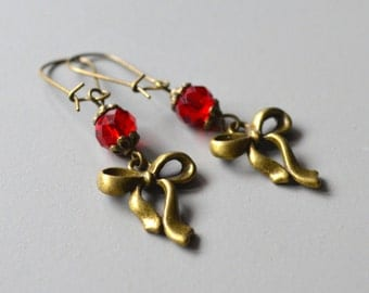 Earrings pearl red bow