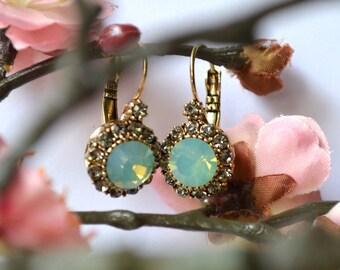 Green crystal opal earrings
