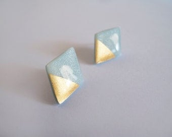 Blue Gray &23k Gold Rhombus Stud Earrings - Hypoallergenic Surgical Steel Posts