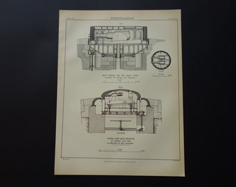 GUNS 135+ years old military print - 1879 antique plate Fortification Guns- war architecture construction engineering gun canon 8x11''