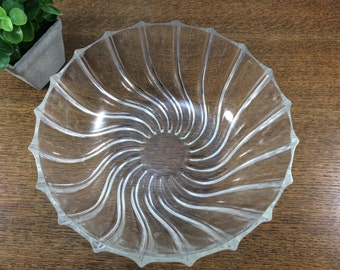 Clear Pressed Glass Bowl - Swirl Design Pattern