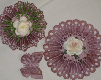 ROSETTE Mauve Paper Flowers With Butterfly, Shabby Chic Paper Embellishments for Scrapbooking, Card Candy, Cards