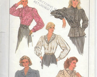 Vintage 1987 Simplicity Pattern 8300 DYNASTY STYLE BLOUSES Misses 6 8 10
