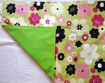 Baby changing mat padded, travel changing pad, baby girl changing pad, multi colored flowers with lime green on the reverse