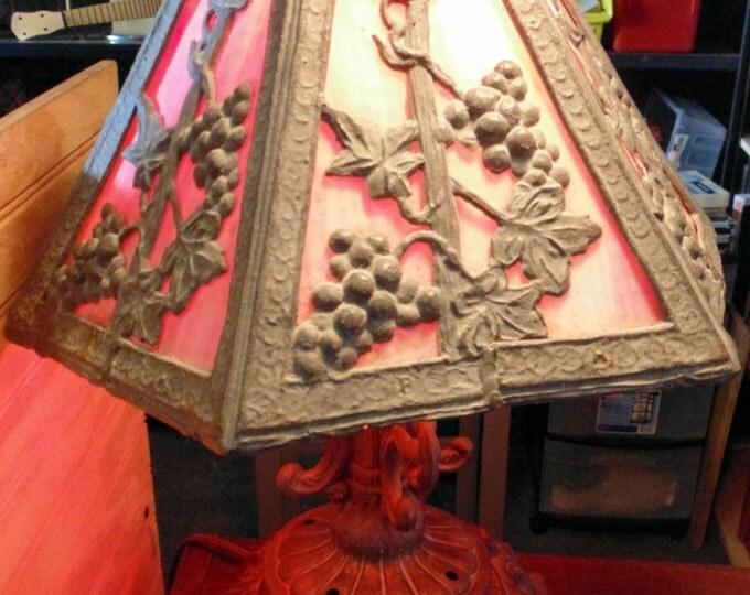 Antique Stained Glass Table / Mantel Lamp Art Deco, Art Nouveau