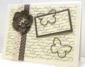 Unique all occasion card, ivory paper, I love you in script, butterflies, butterfly clips, brown polka dots, cream cotton lace, brown flower