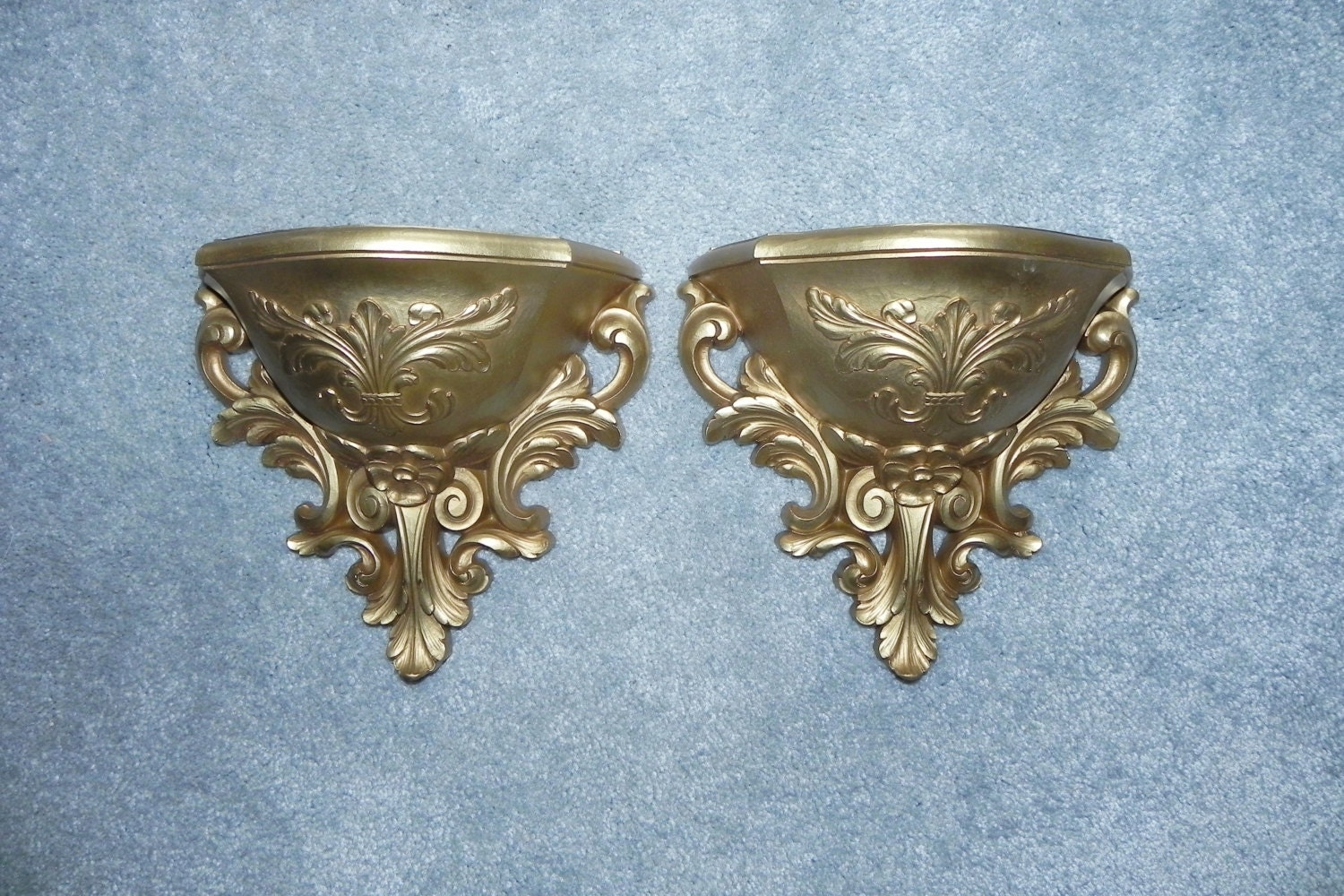 Wall Sconces Planters : Gold Syroco Wall Pocket Sconces Pair Set Planters