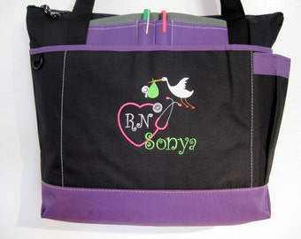 Free Shipping - Personalized Labor & Delivery Baby Nurse Stethoscope Tote Bag - RN LPN CNA - More Colors - monogrammed
