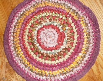 "Rag Rug 29"" Round Cotton Crochet Rug  RV Rug Pet Mat Entry Rug Kitchen Rug in Shades of Brown Ready To Ship"
