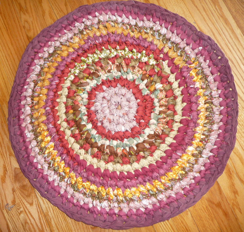 Rag Rug 29 Round Cotton Crochet Rug RV Rug Pet Mat