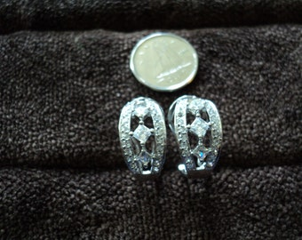 Faceted CZ Omega Back 4.6g Sterling Silver Post Earrings