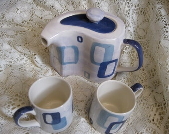 50% Off Herman Dodge Hand Painted Espresso  Coffee Teapot with 2 Small Mugs