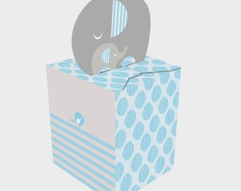 Box of 48 Blue Little Peanut Elephant Baby Shower Favor Boxes ~ So Cute!  Great Value!