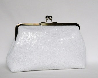 White Sequin Clutch, White Bridal Clutch, Sequin Clutch, Wedding Clutch, Brides Clutch, White Clutch
