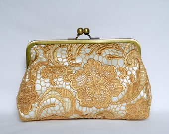 Gold and Ivory Lace Clutch, Gold Bridal Clutch, Gold Lace Clutch, Gold Wedding Clutch, Gold Evening Clutch, Bridesmaids Clutch