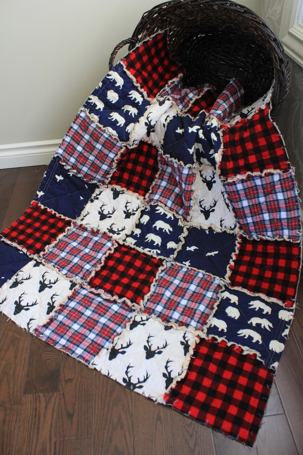 Baby Rag Quilt Baby Crib Quilt Plaid Quilt Deer Navy And
