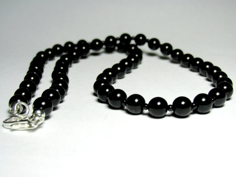 mens choker necklace mens black onyx necklace mens beaded