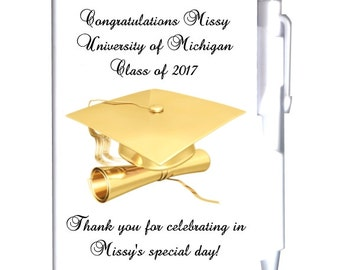 8 Personalized Gold Graduation Notebook Favors