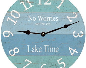 No Worries We're on Lake Time Clock