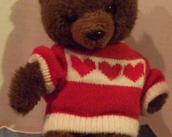 Brown Bear with Red Heart Sweater